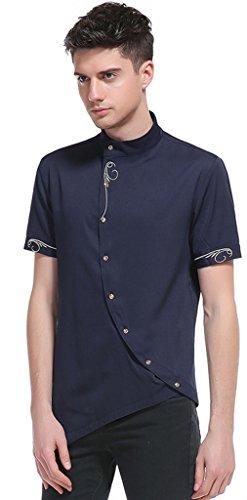 Whatlees Herren Urban Basic Kurz Geschnittenes Hemd mit Asymmetrisches und aufgesticktes Design Stehkragen B508-Navy-L (Ed Clothing Womens Hardy)
