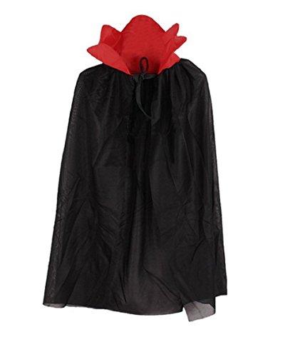 (5-7 Jahre - Kostüm Umhang - Verkleidung - Karneval - Halloween - Vampir - Dämon - Edel - Dracula - Schwarz - Unisex - Kinder)