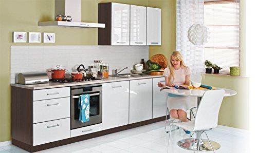 fiwodo Einbauküche 300cm Weiss Hochglanz lackiert - ERWEITERBAR - Küche günstig Küchenzeile