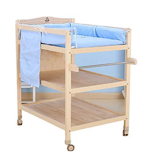 Tables à langer Table Table À Langer avec Coussin en Coton Bleu Multi-Fonction en Bois Massif Baby Touch Massage Vêtements De Bain