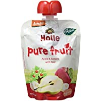 Holle Smoothie Manzana, Plátano con Pera (+6 meses) - Paquete de 12 x 90 gr - Total: 1080 gr
