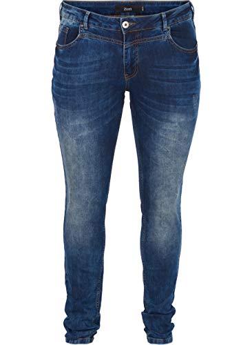 Zizzi Damen, Long, Sanna, ex.Slim Slim Jeans, Blau (Blue Denim 1052),...