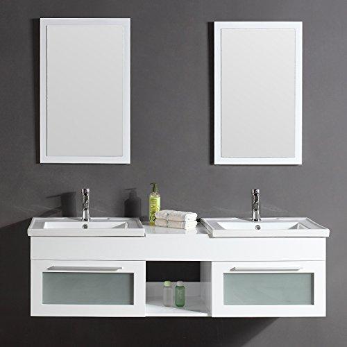Le Pacific Blanc: Ensemble meuble de salle de bain en chêne, 2 vasques, 2 miroirs