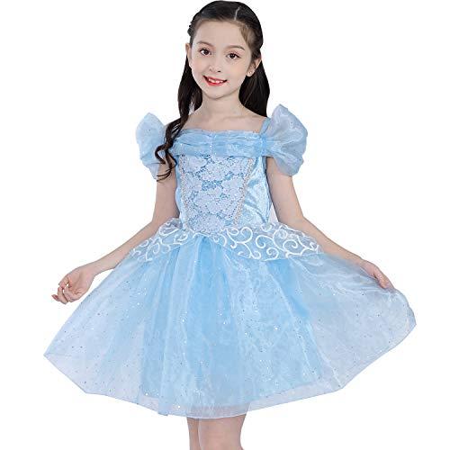 Little Girls Prinzessin Belle Aurora Aschenputtel-Kostüm, kurzes Tutu, Kleid für kleine Mädchen und Kleinkinder, blau (Cinderella Kostüm Tutu)