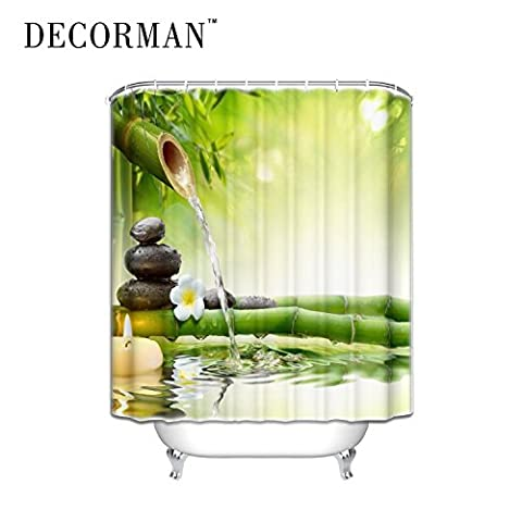 Spa Decor Bathroom Zen Garden Decor View for Bathroom Magical Shower Curtain Plumeria Flower Japanese Design Relaxation Decorations Green Bamboos Yellow Candles,72