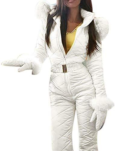 iSunday - Tuta da Neve a Pezzo Unico, da Donna, Invernale, Caldo, per Sport all'Aria Aperta, Pantaloni da Sci, Impermeabile e Antivento, Bianco, Large