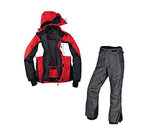 Skianzug 2tlg. Funktioneller Skianzug Für Herren M-32 Gr. 50 Farbe.Rot-Schwarz-Weiß-Grau Schneeanzug Thinsulate Skijacke