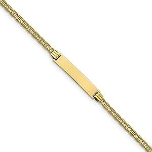5,5mm 10K Anker Link ID Armband–15cm–Höhere Gold Goldgrad als 9Karat Gold