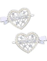 Santfe 2pcs Rhinestone Hollow corazón perla pelo Clip Barrettes Headwear de la novia clip de pinza para pinzas