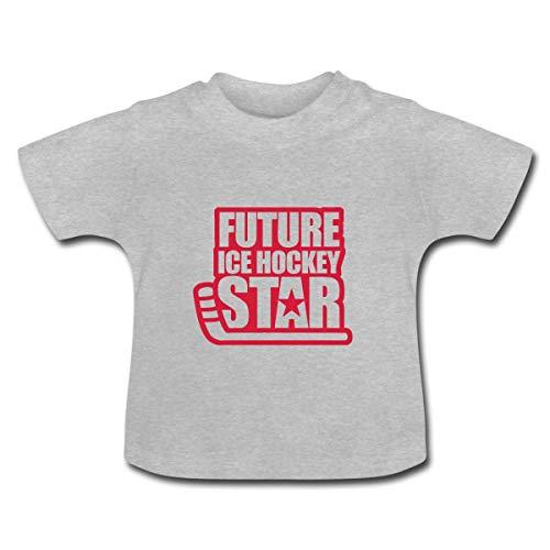 Eishockey Future Ice Hockey Star Baby T-Shirt, 3-6 Monate, Grau meliert