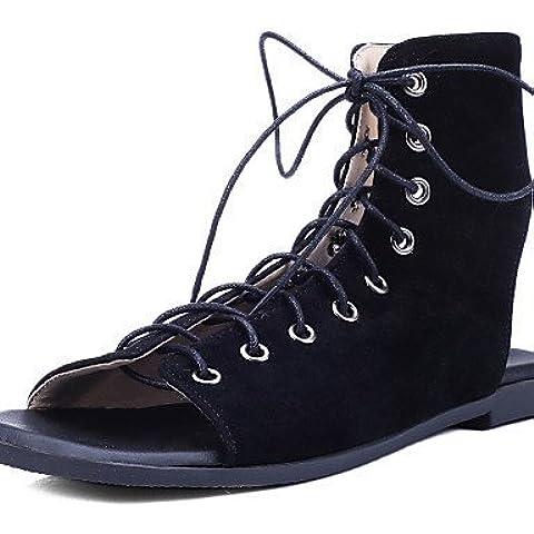 LFNLYX Zapatos de mujer-Tacón Plano-Punta Abierta / Talón Descubierto / Tira en el Tobillo-Sandalias-Exterior / Vestido-Microfibra-Negro / Marrón , black , us8 / eu39 / uk6 /
