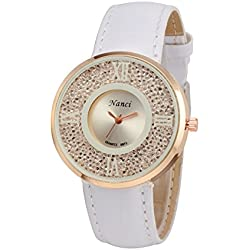Dmarkt Leather Lady Causal Watch Analog Display Women Dress Watch Fashion Sparkle Roll Rehinestone Quartz Watch Women Wristwatch(White)