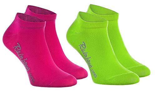 Rainbow Socks - Jungen und Mädchen Sneaker Socken Baumwolle - 2 Paar Multipack - Grün Rosa - Größen: EU 30-35