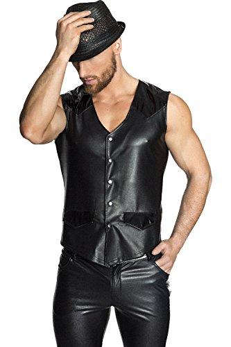 Preisvergleich Produktbild NOIR HANDMADE Men - Kunstleder Weste mit PVC Applikationen und Druckknöpfen, schwarz, Größe: XXL, 1 Stück