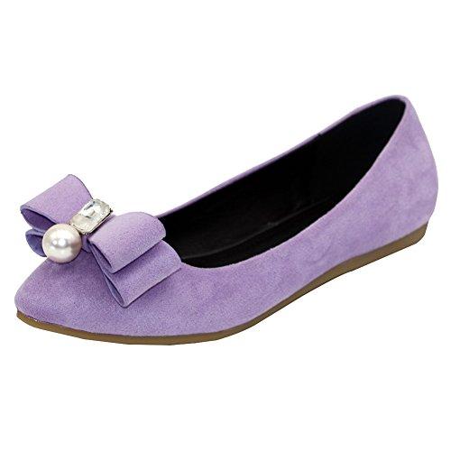 VogueZone009 Damen Ohne Absatz Rein Ziehen auf Mattglasbirne Spitz Zehe Flache Schuhe, Schwarz, 34