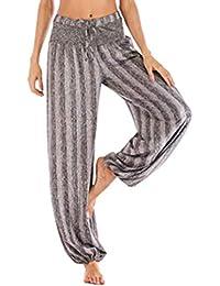 fcaf07654aa4 Hibote Ladies Gathered Draped Baggy Harem Pants Loose Stripe Casual  Drawstring Wide Leg Pants Women Palazzo Trousers Bohemian Flared…