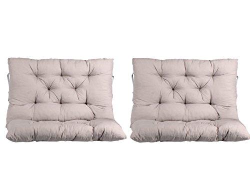 Ambientehome 2er Set Kissen mit Rückenteil, grau, ca 75 x 98 x 8 cm, Bankauflage 150 cm