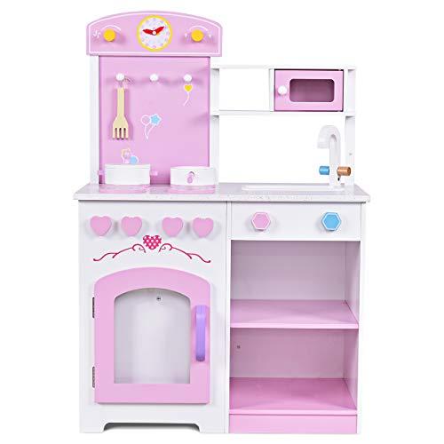 GYMAX Kids Play Kitchen Pretend Play Role Cook Set Girls Children
