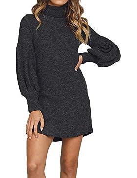ZODOF suéter de la Raya Tallas Grandes Elástico Suelto largas Suave cómodo Suéter de Punto Pullover Suéter sólido...
