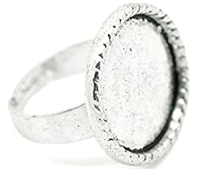 10 x Adjustable Silver Tone Ring Bases. Blank Glue-on. 17.5mm. Jewellery Finding.