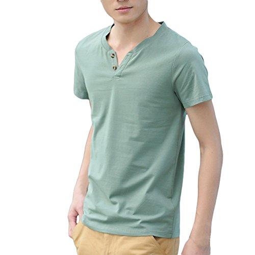 Herren Jungen Freizeit T-Shirt V-Neck Basic V-Ausschnitt Shirt mit Knopf einfarbig Grün