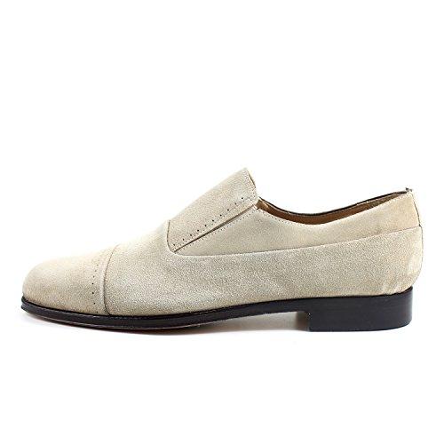 GIORGIO REA Chaussures Homme Beige Mocassins Mâle Main Italiennes, Cuir, Élégant, Classique, Oxford Classic Shoes