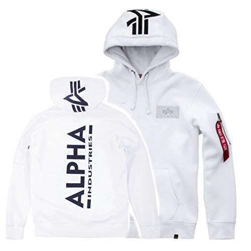 Alpha Back Print Hoody Kuscheliger Kapuzensweater mit Bauchtasche und Multifunktionstasche mit Siebdruck, Größe:L, Farbe:White