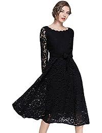 YiLianDa Donna Vestiti in Pizzo Eleganti da Cerimonia Abito Vintage Abiti  Moda per Partito Sera 3635cfb07d0