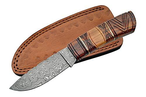 Damaskus Carved Wood Messer mit Fester Klinge -
