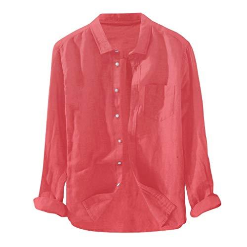 DNOQN Sport T Shirt Sweater Herren Gestreiftes Shirt Herren Baggy Solide Baumwolle Leinen Langarm Knopf Tasche Übergröße T Shirts XXL