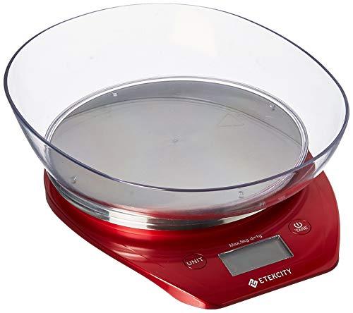 Etekcity Küchenwaage, digital, mit Gramm- und Oze-Gramm- und Ozen-Schüssel zum Kochen und Backen, rot/Edelstahl