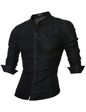 ZhiYuanAN Uomo Camicia Jeans Di Stand-Up Colletto Moda Selvaggia Camicia Di Colore Solido Denim Giacca Con Una...