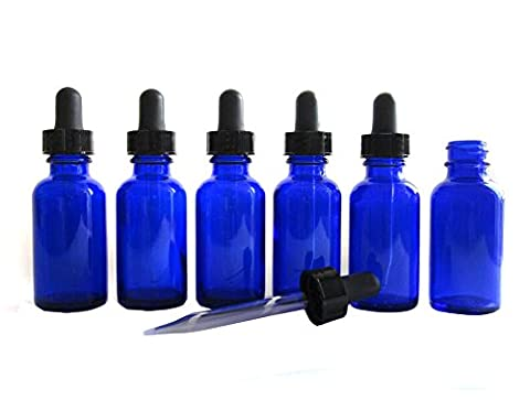 Pack of 6 Cobalt Blue Glass Bottles with Glass Eye