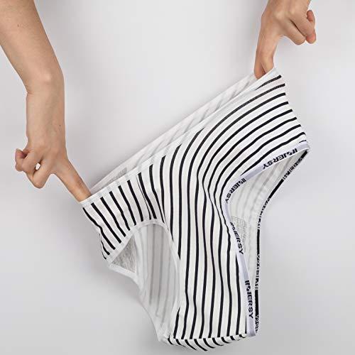 INNERSY Damen Unterhosen Baumwolle Taillenslips Mädchen Streifenmuster 6er Pack (46, Mehrfarbig Streifen) - 5