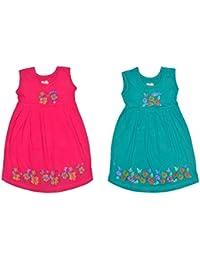 Sathiyas Akash Girls 100% Hoisery Cotton Floral Printed Dresses
