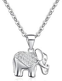 Infinito U 925 plata esterlina Zirconia cúbico/mujeres niñas elefante lindo colgante collar para regalo de cumpleaños