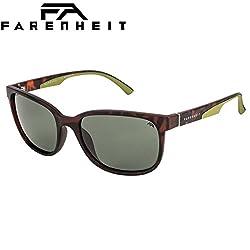 Farenheit Polarized Rectangular Mens Sunglasses - (SOC-FA-2334P-C3|57|Green Color Lens)