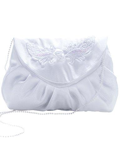 Princess Taufkleid Brautbeutel aus Satin in Weiß und Ivory Silber/Weiß