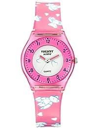 Trendy Kiddy - KL 347 - Montre Fille - Quartz Analogique - Cadran Multicolore - Bracelet Plastique Rose