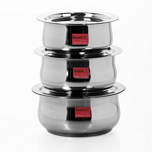 Sumeet 3 Pcs Stainless Steel Induction & Gas Stove Friendly Belly Shape Container Set / Tope / Cookware Set With Lids Size No.10 to No.12  available at amazon for Rs.709