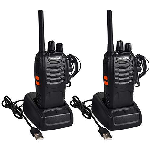 Miavogo 2 x Walkie Talkie Set, Funkgerät BF88E PMR446 16 Kanäle 3 KM USB Wiederaufladbare Woki Toki Outdoor Handfunkgerät Funksprechgerät Schwarz - Mit Headset