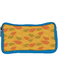 Snoogg Eco Friendly Canvas Red And Green Leaves Yellow Pattern Designer Student Pen Pencil Case Coin Purse Pouch...