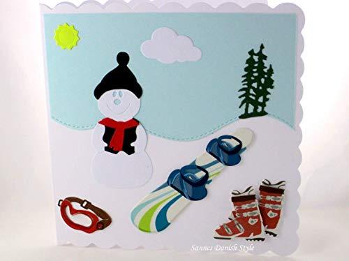 Grußkarte Snowboard Stiefel Schneemann Schneebrille ca. 15 x 15 cm (Snowboard-brillen Blaue)