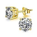 Ohrstecker Damen 18 Karat Weißgold überzogen 925 Sterling Silber mit Zirkonia von Swarovski Simulierten Diamant Ohrstecker Schmuck -6MM (6mm Yellow Gold Plated)
