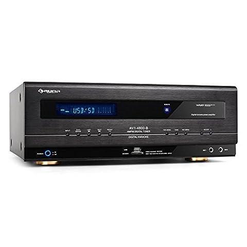 auna AVI-4800 Ampli & récepteur radio HiFi stéréo 5.1 son surround (390W RMS, ports USB SD, lecture MP3, tuner radio FM, max. 1000W 2 entrées micro avec effets) - noir