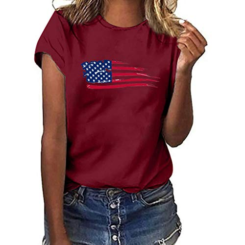 Bellelove Damen T-Shirt, Frauen Casual Kurzarm Shirt Mit Rundhals T-Shirt American Flag Print Top Einfache Loose Tee -
