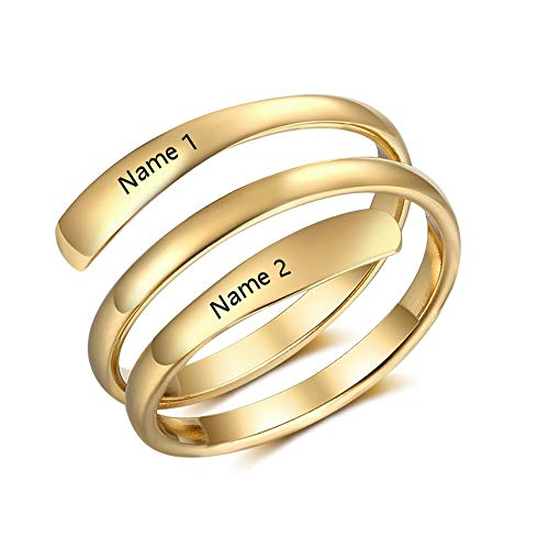 a21a23f49 ZHOUYF RING Anillo Personalized Name Engraved Rings For Women DIY 2 Names  Rings Wedding Engagement Jewelry