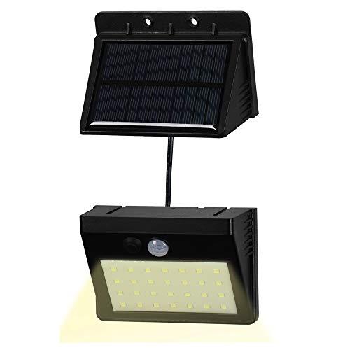 T-SUN Foco Solar Exterior, Luz de Pared al Aire Libre de 28 LED, Luces Solares con Sensor de Movimiento, Gran Ángulo 120°, Luces Solares de Seguridad con 3 modos inteligentes, 3000K.(Pack de 1)