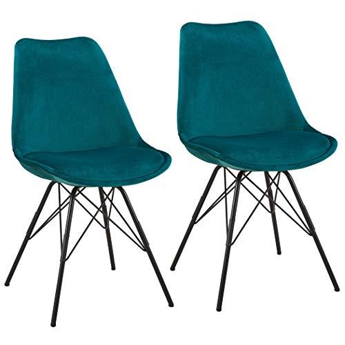 Duhome 2er Set Esszimmerstuhl Stoff Samt Petrol Blau Grün Küchenstuhl Metallbeine Sitzkissen Retro Farbauswahl 518MJ