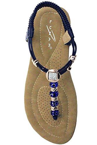 ZAFFIRO BOUTIQUE JLH879 Murana Da donna Elastico Imbottito Con gioielli Cosa Sandali Infradito Perline sandali Blu